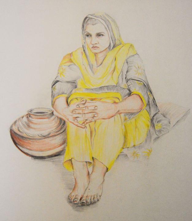"""Painting titled """"Rural Pakistani Wom…"""" by Sana Anwer, Original Art, Other"""