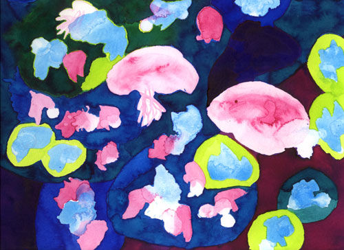 Under the sea - Painting,  24x32 cm ©2004 by Sandra Costa Bras -