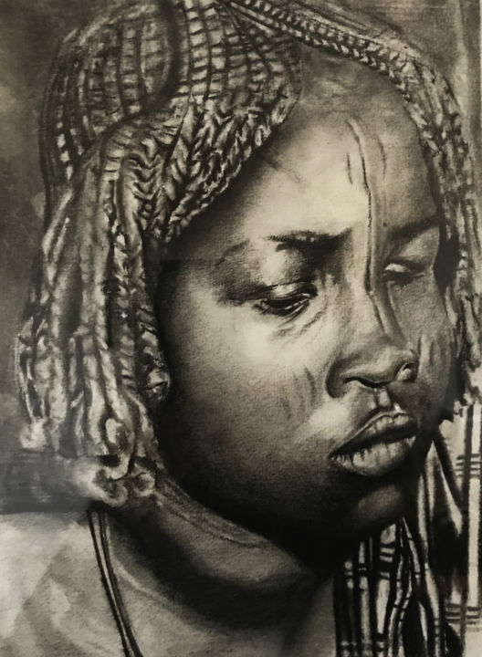 """Drawing titled """"Madagascar"""" by Sandrine Royer, Original Art, Charcoal"""