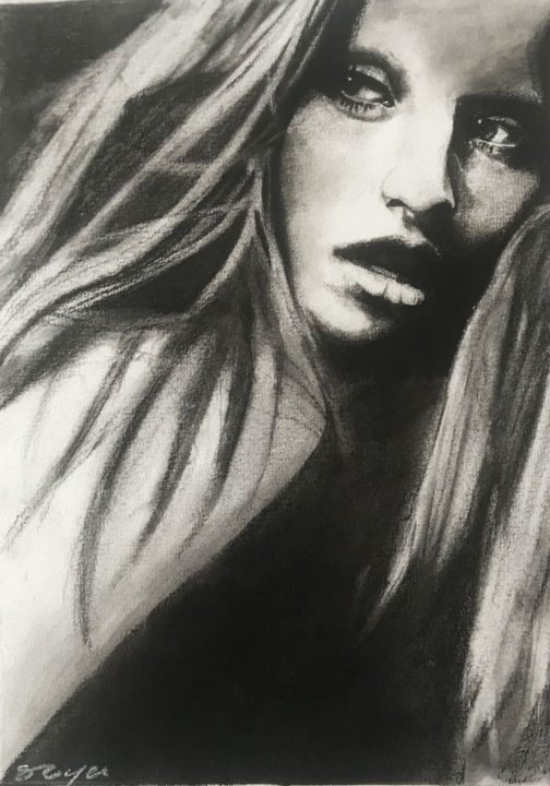 """Drawing titled """"Portrait n°3"""" by Sandrine Royer, Original Art, Charcoal"""