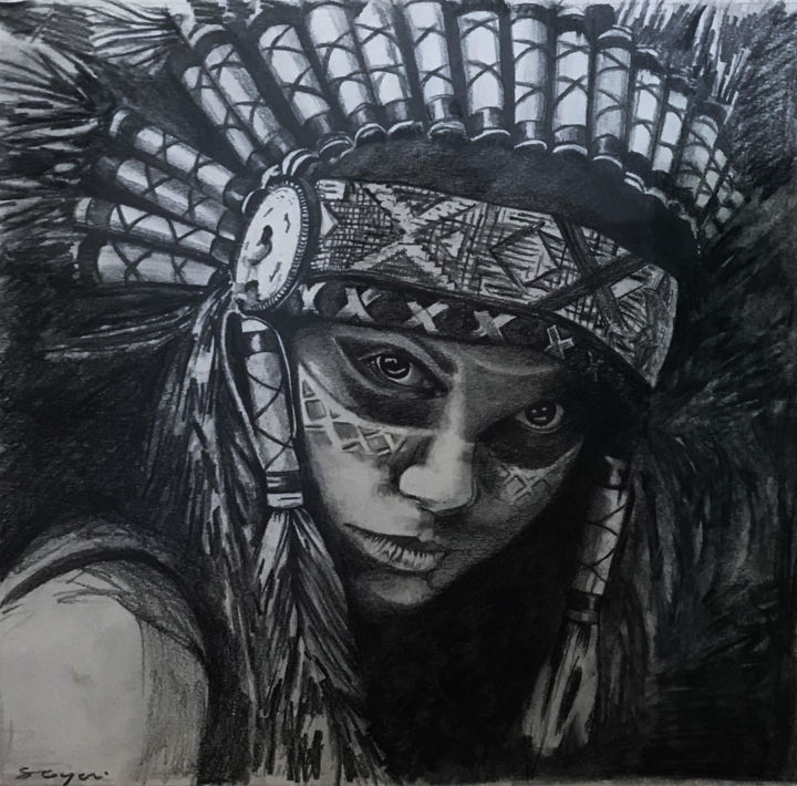 Squaw Drawing By Sandrine Royer Artmajeur