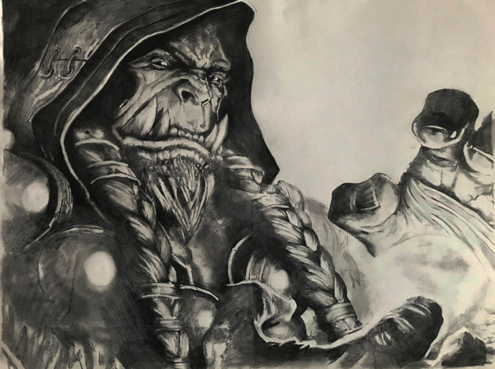 """Drawing titled """"Orc 2"""" by Sandrine Royer, Original Art, Graphite"""