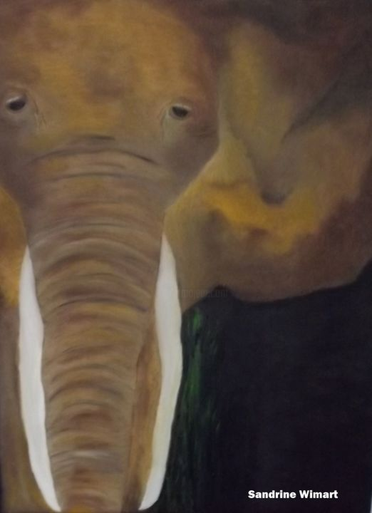 Eléphant - Painting, ©2013 by Sandrine Swan Wimart -