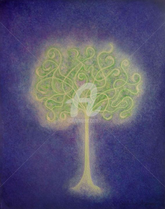Tree of Light 13 / Arbre de Lumière 13 - Painting,  50x40 cm ©2010 by Sandrine Auriac -