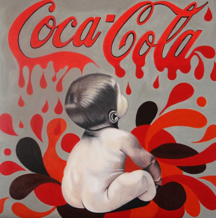 COCACOLA'S BABY - Drawing,  90x90x2 cm ©2017 by Sandrine HARDJANI -                                                            Figurative Art, Canvas, Nude, bébé, cocacola, soda, boisson, enfant