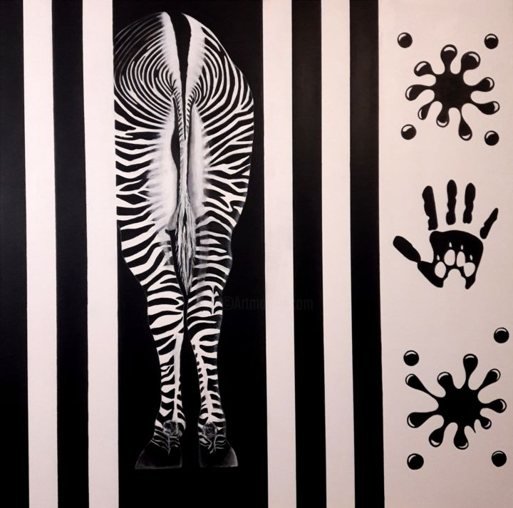Zebr'Art - Painting,  90x90x2 cm ©2018 by Sandrine HARDJANI -            zebre, animeaux, pop art, noir et blanc, black and wihte, protection animale