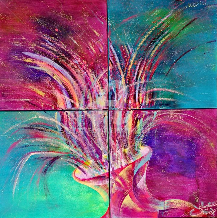 """Painting titled """"Sparkling Freedom"""" by Sandrine Langlade, Original Art, Acrylic"""