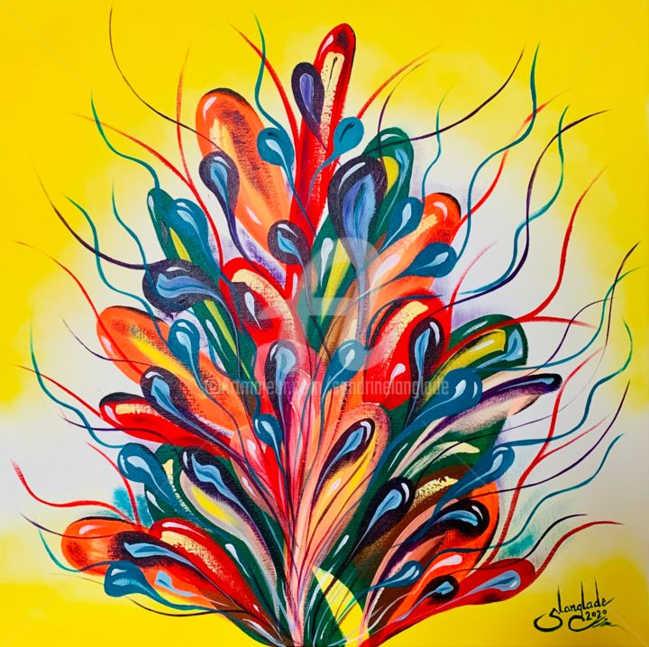 """Painting titled """"Flowery Sperm"""" by Sandrine Langlade, Original Art, Acrylic Mounted on Stretcher frame"""