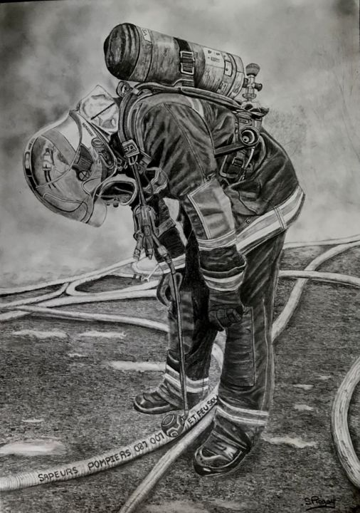 """Drawing titled """"Mission"""" by Sandrine Piegay, Original Art, Graphite"""