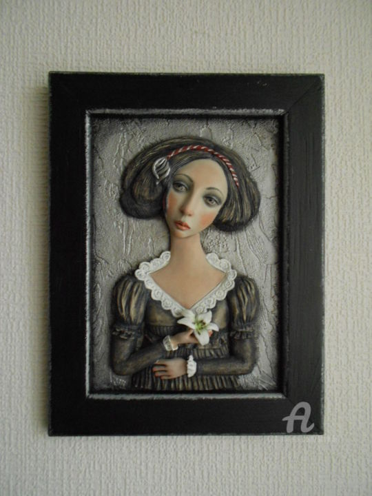 """Sculpture titled """"Girl with  lily   B…"""" by Vera Sanina, Original Art, Wood"""