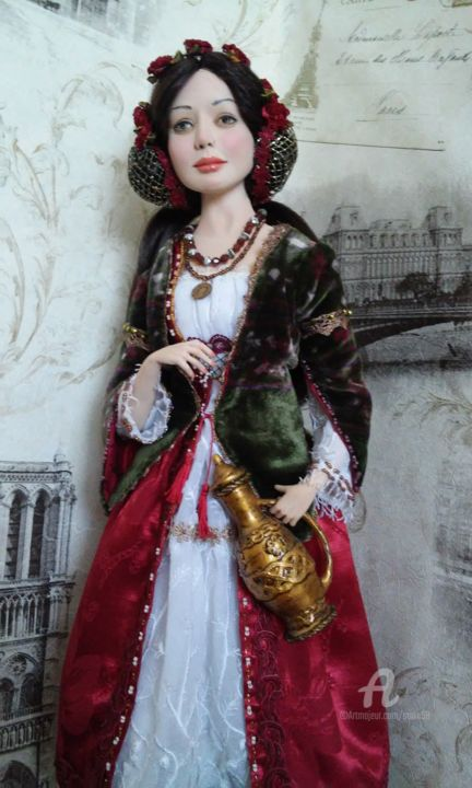 Girl with a jug   OOAK Art doll - Sculpture,  23.6x5.9x5.9 in ©2017 by Vera Sanina -                                                                                                            Figurative Art, Trompe-l'œil, Wood, Other, Fabric, Classical mythology, Love / Romance, Original sculptures, OOAK Art doll, handmade doll, polymer clay, collectible doll