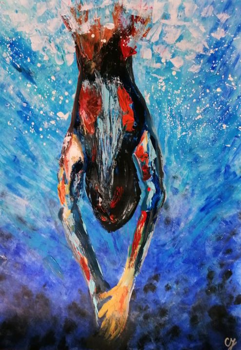 """Painting titled """"#1 Jump into the sea"""" by Sanja Jancic, Original Art, Acrylic"""