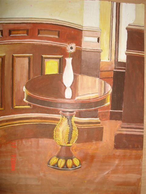 """Painting titled """"A Wooden Table"""" by Alan, Original Art,"""