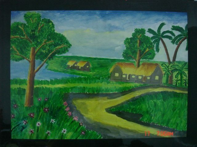 """Painting titled """"A Rural Village of…"""" by Alan, Original Art,"""