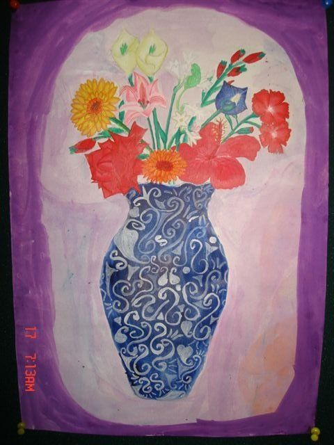 """Painting titled """"The Flower Vase"""" by Alan, Original Art,"""