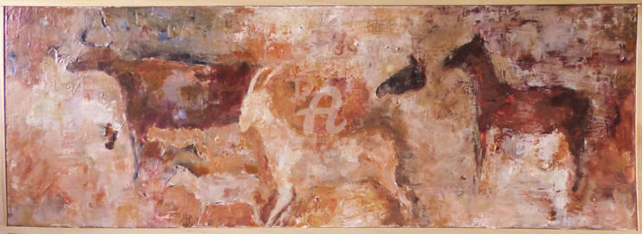Petite Frise - Painting,  11.8x35.4x1.6 in, ©2018 by A Sanrey -