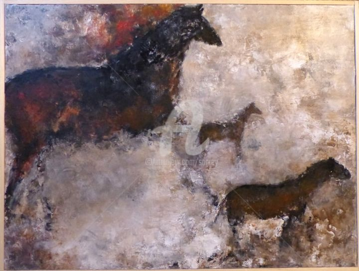 Chevaux, hors l'espace - Painting,  23.6x47.2 in, ©2018 by A Sanrey -                                                                                                                                                                          Figurative, figurative-594, Animals