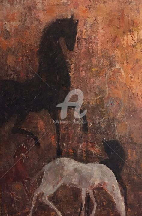 Silhouettes - Painting,  150x100 cm ©2018 by A Sanrey -