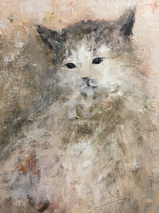 Chat-Lune - Painting,  50x35 cm ©2018 by A Sanrey -