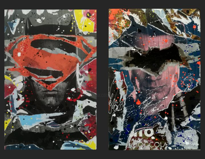 """DITTICO """"Switching Identity"""" - Collages,  22.4x33.9x1.6 in, ©2019 by Sara Arnaout -                                                                                                                                                                                                                                                                                                                                                                                                                                                      Pop Art, pop-art-615, Comics, pop art, collage, decollage, superheroes, batman, superman"""