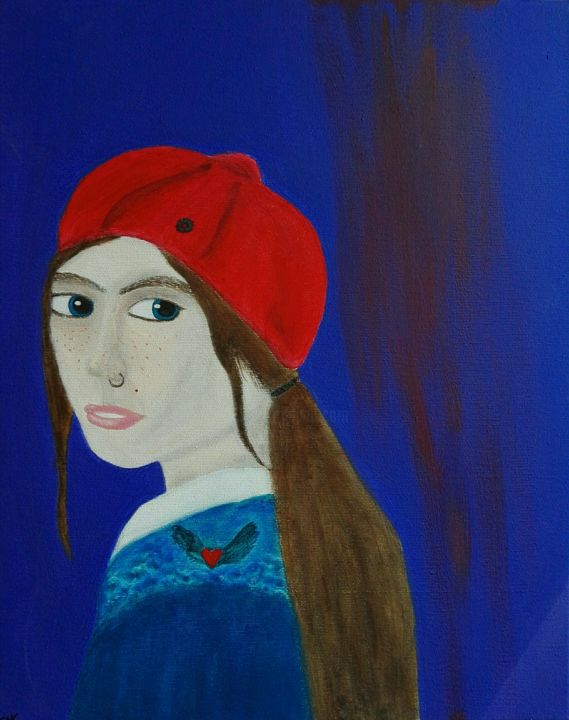 """Painting titled """"The girl with a nos…"""" by The_edge_of_chaos, Original Art, Acrylic"""