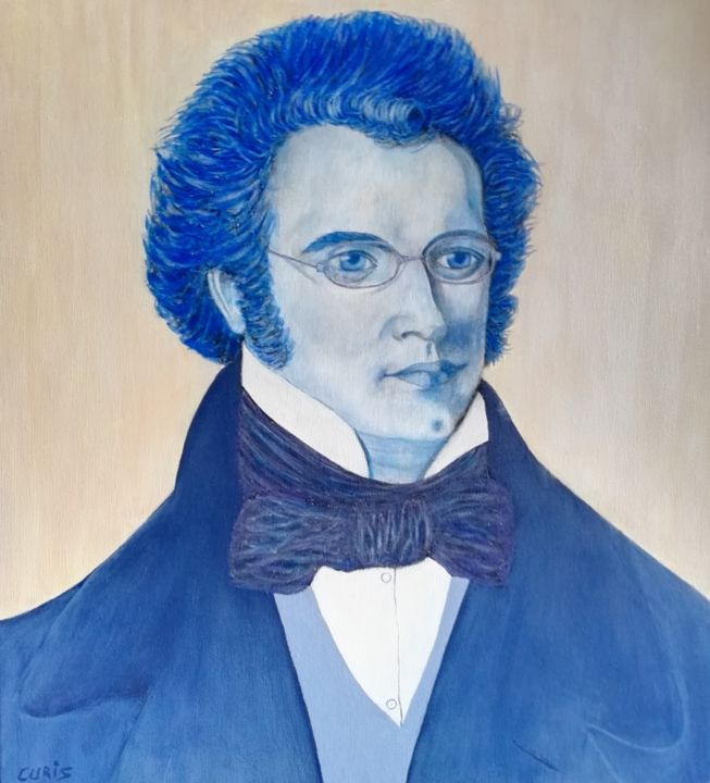"""Painting titled """"Schubert, portrait"""" by The_edge_of_chaos, Original Art, Acrylic"""