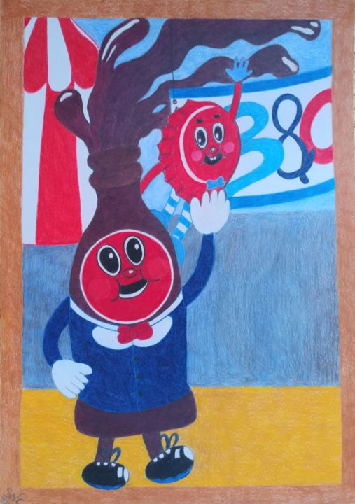 """Drawing titled """"Bottle and Cappy, f…"""" by The_edge_of_chaos, Original Art, Pencil"""