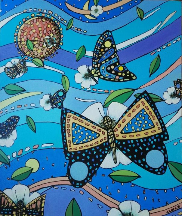 """Painting titled """"The butterflys"""" by The_edge_of_chaos, Original Art, Acrylic"""