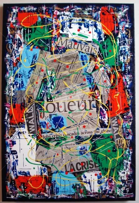 Bad player........ - Painting,  81x54 cm ©2009 by Sarahoui -                                                            Contemporary painting, Canvas, Politics, Bad player, mauvais joueur, Sarahoui, contempory art, Politique