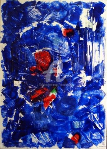 For u.................. - Painting,  70x50 cm ©2009 by Sarahoui -                                                            Abstract Art, Canvas, Abstract Art, For U, Sarahoui, Art Abstrait, Acrylique, Blue