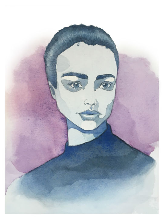 Portrait - Peinture,  7,9x5,9 in ©2019 par Sarah Quarelle -                            Portraits, woman, femme, purple, violet, portrait, aquarelle, watercolor, bleu, blue