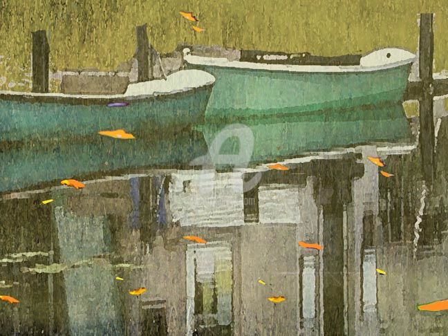 """Collages titled """"Two Canoes"""" by Sara Slee Brown, Original Art,"""