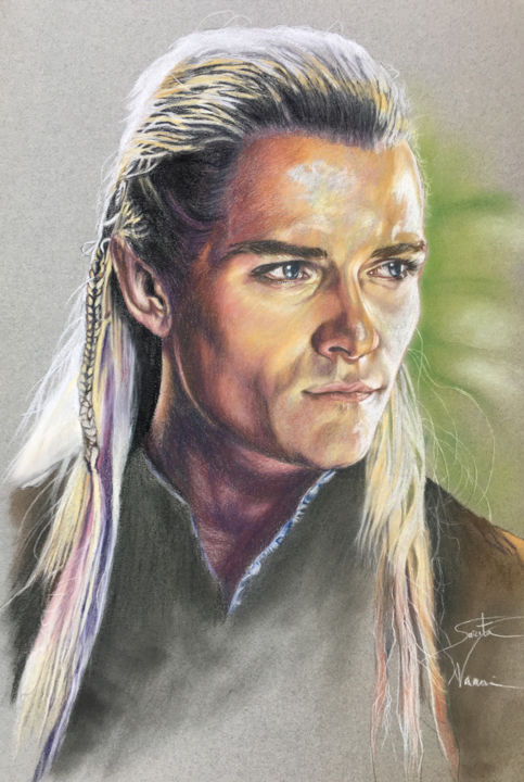 Legolas - Drawing,  20x13x0.1 in ©2018 by Sarita Nanni -                                                                                                                                                                        Figurative Art, Photorealism, Contemporary painting, Realism, Portraiture, Paper, Celebrity, Cinema, Heroic-Fantasy, Portraits, Men, Fantasy, portrait, custom portrait, portrait from photo, realistic drawing, portrait art, portrait painting, orlando bloom, charcoal drawing, legolas, portrait drawing, charcoal portrait, art commission, order portrait, artwork portrait
