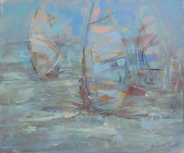 In the Wind - Painting,  19.7x23.6 in, ©2007 by Sarmite Caune -