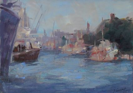 The Morning in the Port - Painting, ©2007 by Sarmite Caune -