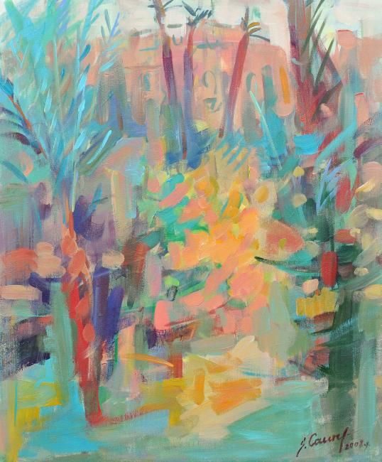 IN THE GARDEN - Painting,  23.6x19.7x0.4 in, ©2008 by Sarmite Caune -
