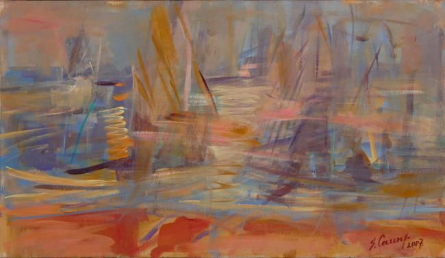 In the wind 2 - Painting,  15.8x27.6 in, ©2007 by Sarmite Caune -