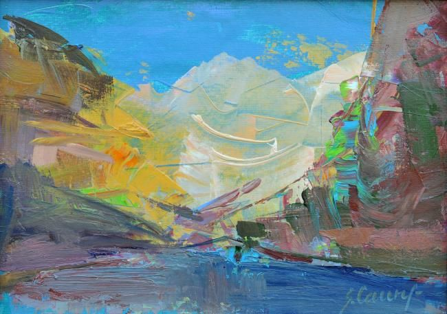 The snowy mountains - Painting,  7.1x9.8x0.4 in, ©2008 by Sarmite Caune -