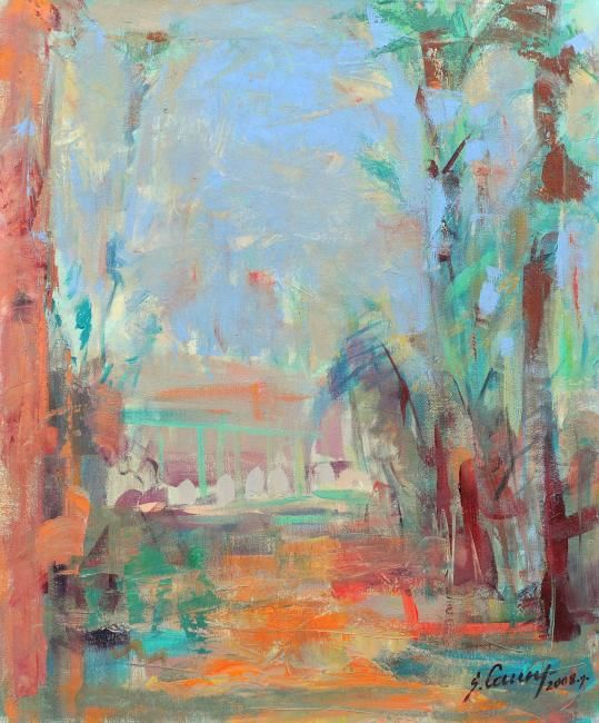 View from window - Painting,  27.6x23.6x0.4 in, ©2008 by Sarmite Caune -
