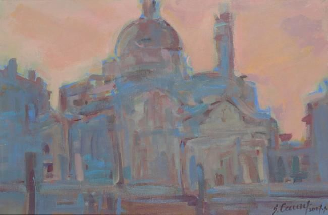 Chiesa S.Geremia - Painting,  15.8x23.6x0.4 in, ©2007 by Sarmite Caune -
