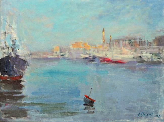In the Port II - Painting,  23.6x31.5 in, ©2008 by Sarmite Caune -