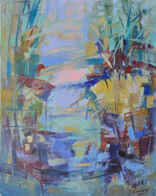 Reflections - Painting,  35.4x27.6 in, ©2008 by Sarmite Caune -