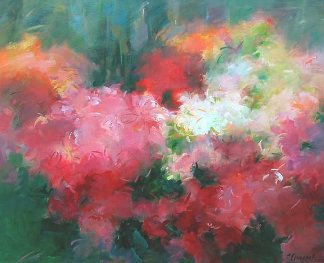 The Coloured Rhododendron - Painting,  31.5x35.4 in, ©2009 by Sarmite Caune -