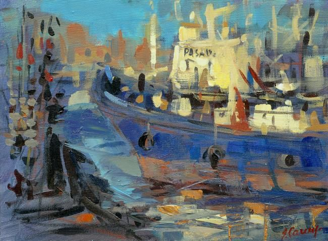 Fishing- boat - Painting,  11.8x15.8 in, ©2009 by Sarmite Caune -