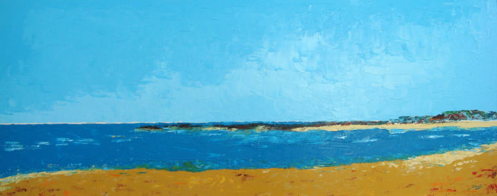Vilanove de Milfontes (1181-40MM) - ©  abstract seascape, colourful, Saroja, Portugal, Atlantic Ocean, pallet knife Online Artworks