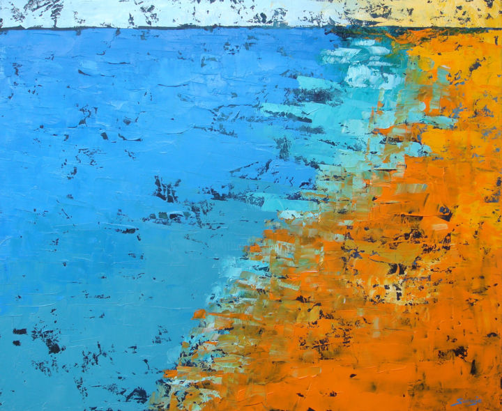 Orange Beach (1177-12F) - Painting,  54x65x3.5 cm ©2018 by Saroja La Colorista -                                                                        Abstract Art, Abstract Expressionism, Canvas, Seascape, Abstract seascape, beach, landscape, saroja, atlantic ocean, alentejo, portugal, pallet knife, colourful