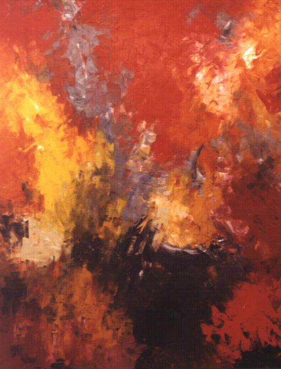 Light Through Forest (448-50F) - Painting,  120x77x3.5 cm ©2018 by Saroja La Colorista -                                                                        Abstract Art, Abstract Expressionism, Canvas, Abstract Art, Landscape Oil Painting, Large Colourful Abstract, pallet knife, Saroja, Mallorca, Majorca, red, dark