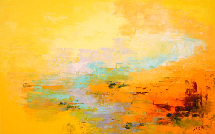 Yellow landscape 2 (876-12M) - Painting,  42x65x3.5 cm ©2018 by Saroja La Colorista -                                                                        Abstract Art, Abstract Expressionism, Canvas, Landscape, Yellow landscape, abstract oil painting, pallet knife, colourful, happy, bright, saroja, Mallorca, majorca