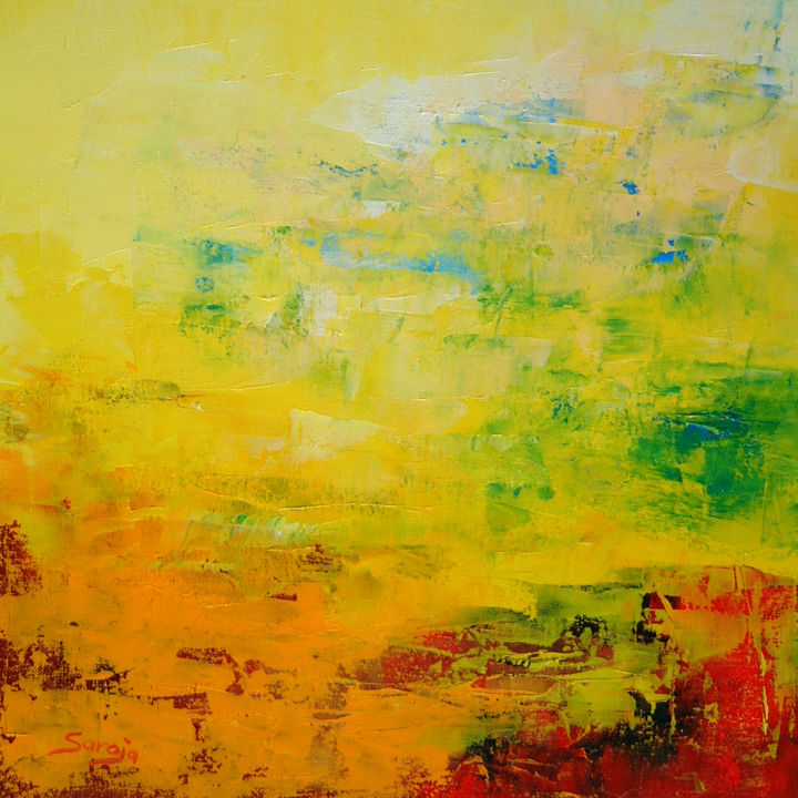 Yellow Abstract (716-35Q - ©  yellow landscape, abstract oil painting, saroja, pallet knife, colourful, mallorca, majorca, mediterrenean Online Artworks