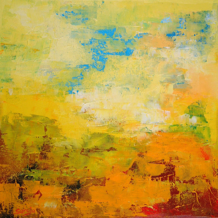"""Painting titled """"Yellow Abstract (71…"""" by Saroja La Colorista, Original Art, Oil"""